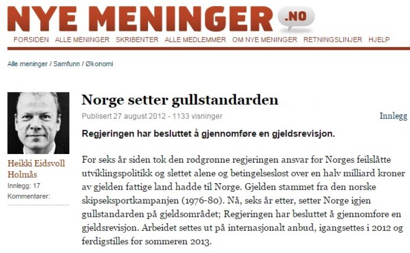 Norge setter gullstandarden (Dagsavisen)