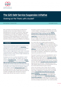 Shadow report on the limitations of the G20 Debt Service Suspension Initiative: Draining out the Titanic with a bucket?