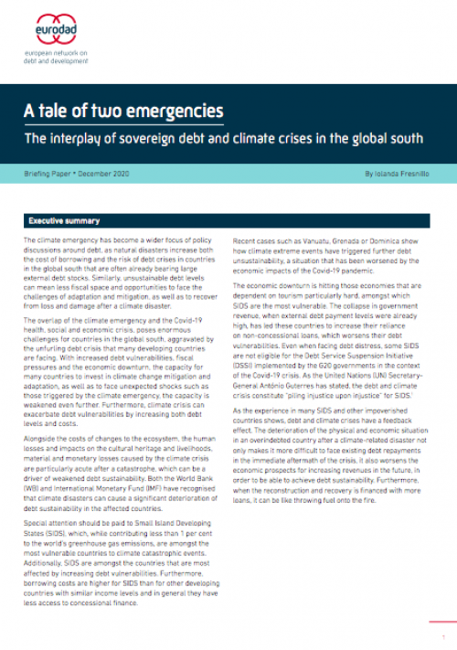 A tale of two emergencies - the interplay of sovereign debt and climate crises in the global south